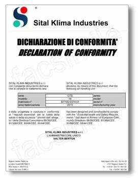 Esempio dichiarazione di conformità direttiva macchine